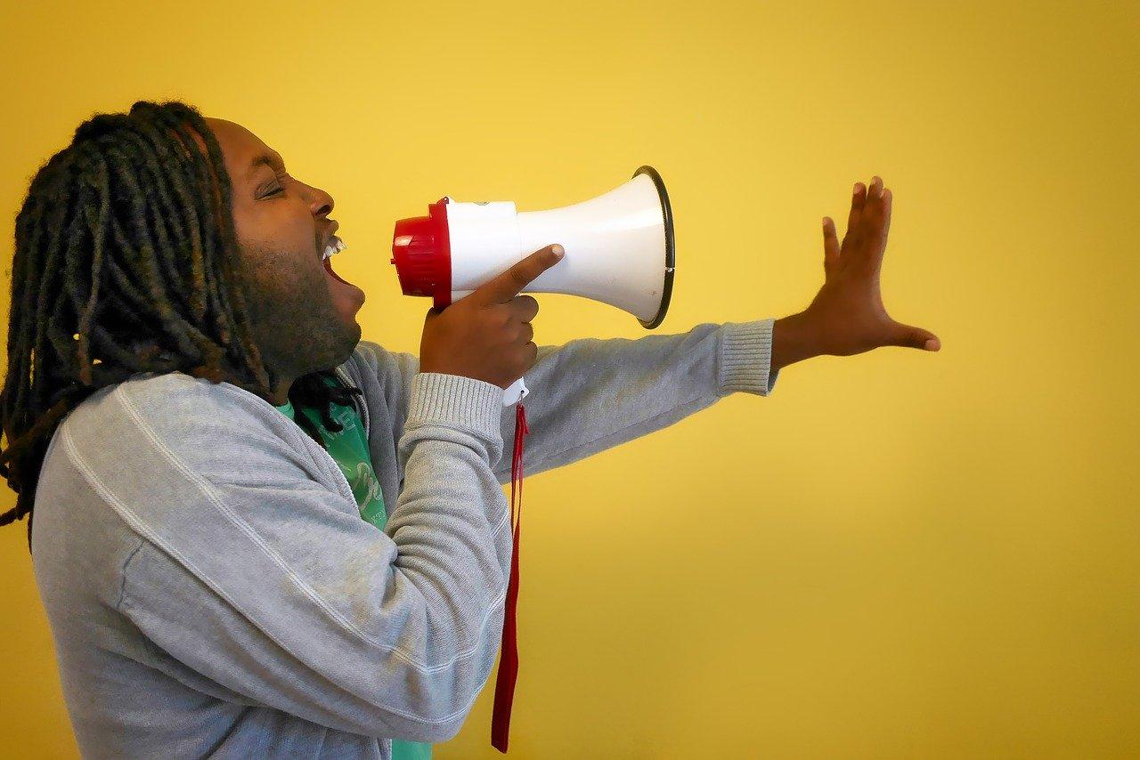 call, afro, megaphone